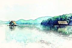 Abstrakte bunte Baum- und Flussseelandschaftsaquarell-Illustrationsmalerei