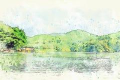 Abstrakte bunte Bergspitze und Fluss auf Aquarellillustrationsmalerei