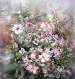 Abstrakte bunte Blumenaquarellmalerei Stockfoto