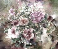 Abstrakte bunte Blumenaquarellmalerei Stockfotos