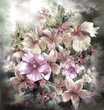 Abstrakte bunte Blumenaquarellmalerei Frühling mehrfarbig in der Natur Stockfoto