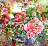 Abstrakte bunte Blumenaquarellmalerei Frühling mehrfarbig in der Natur Lizenzfreies Stockfoto