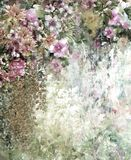 Abstrakte bunte Blumenaquarellmalerei Frühling mehrfarbig in der Natur Stockbild