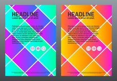 Abstrakte bunte Broschüre Designschablone mit hellen Quadraten und Steigungen Kreative Zusammensetzung eingestellt in A4 trendy Stockfoto
