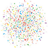 Abstrakte bunte Explosion von Konfettis, lokalisierter weißer Hintergrund Feiertag, Parteihintergrund Mehrfarbige Konfettis Lizenzfreies Stockfoto