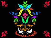 Abstrakte bunte Flora lokalisiert auf schwarzem Hintergrund Stock Abbildung
