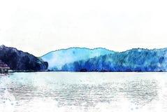 Abstrakte bunte Gebirgszug- und Flussaquarellillustrationsmalerei