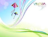 Abstrakte bunte Hintergrund-und Flugwesen-Drachen vektor abbildung