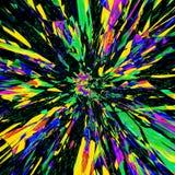 Abstrakte bunte Hintergrundzusammenfassungsphantasieillustrations-Effektexplosion der hellen Streifen in Grünem, in Blauem und in vektor abbildung