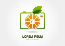 Abstrakte bunte orange Fruchtfotokamera Vektorlogo-Ikone te Stockfotografie