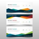 Abstrakte bunte polygonale Fahnenschablone, flacher Designsatz der horizontalen Werbebranchefahnenplanschablone Stockbild