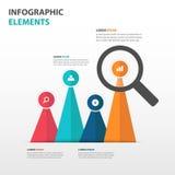 Abstrakte bunte Vergrößerungsglasgeschäft Infographics-Elemente, Design-Vektorillustration der Darstellungsschablone flache für W Stockbild