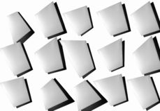 Abstrakte Collage von Blättern Papier auf einem weißen Hintergrund stockfoto