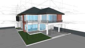 Abstrakte 3D übertragen von der Gebäudestruktur Baugraphikidee Lizenzfreie Stockbilder