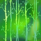 Abstrakte dekorative Bäume - grüner Farbton stock abbildung