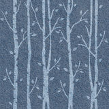 Abstrakte dekorative Bäume - nahtloses Muster - Blue Jeans-Stoff Stockfoto