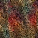 Abstrakte dekorative Gekritzel der Buchstaben nahtlos Stockfoto