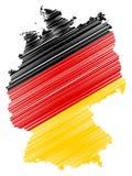 Abstrakte Deutschland-Karte mit Staatsflaggefarben lokalisiert auf weißem Hintergrund lizenzfreie abbildung
