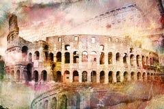 Abstrakte digitale Kunst von Colosseum, Rom Altes Papier Postkarte, hohe Auflösung, bedruckbar auf Segeltuch Lizenzfreie Stockfotos