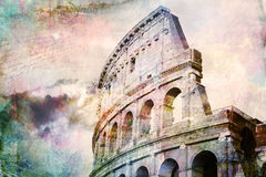 Abstrakte digitale Kunst von Colosseum, Rom Altes Papier Postkarte, hohe Auflösung, bedruckbar auf Segeltuch Stockbilder