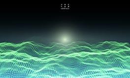 Abstrakte digitale Landschaft Cyber- oder Technologiehintergrund stock abbildung
