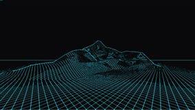 Abstrakte digitale Landschaft Wireframe-Landschaftshintergrund Große Daten futuristische Illustration 3d Lizenzfreie Stockfotografie