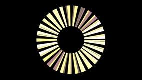 Abstrakte drehende Bl?tter des Strahltriebwerks auf schwarzem Hintergrund, nahtlose Schleife animation Gelbe Strahlen, die herum  stock abbildung