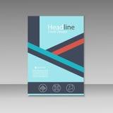Abstrakte Dreiecklinie Broschürenabdeckungsdesign Schablone der Größe A4 Stockfotos