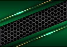 Abstrakte dunkelgraue Hexagonmasche in der grünen Dreieckgoldlinie moderner futuristischer Hintergrundvektor des Designs stock abbildung