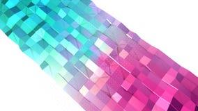 Abstrakte einfache blaue rosa niedrige Poly-Oberfläche 3D und fliegende weiße Kristalle als dekorative Umwelt Weiches geometrisch lizenzfreie abbildung