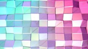 Abstrakte einfache blaue rosa niedrige Poly-Oberfläche 3D und fliegende weiße Kristalle als Jugendhintergrund Weiches geometrisch stock abbildung