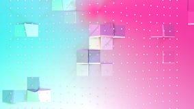 Abstrakte einfache blaue rosa niedrige Poly-Oberfläche 3D und fliegende weiße Kristalle als poligonal Umwelt Weiches geometrische stock abbildung