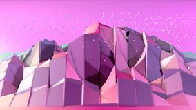 Abstrakte einfache blaue rosa niedrige Poly-Oberfläche 3D und fliegende weiße Kristalle als surreales Gelände Weiches geometrisch lizenzfreie abbildung