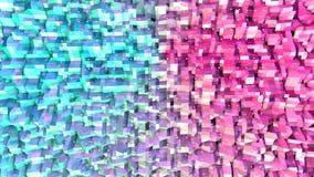 Abstrakte einfache blaue rosa niedrige Poly-Oberfläche 3D und fliegende weiße Kristalle als Traumhintergrund Weiches geometrische vektor abbildung
