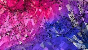 Abstrakte einfache niedrige Poly-Oberfläche 3D des blauen Rotes als poligonal Umwelt Weicher geometrischer niedriger Polybewegung lizenzfreie abbildung
