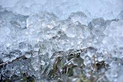 Abstrakte Eiskristalle auf gefrorenen Anlagen Stockfotos