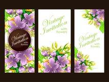 Abstrakte Eleganzeinladung mit Blumenhintergrund Stockfotos