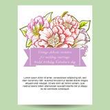 Abstrakte Eleganzeinladung mit Blumenhintergrund Stockbilder