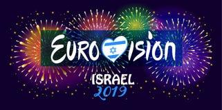 2019 abstrakte Eurovisions-Lied-Wettbewerb-internationale Musikfestivalfeuerwerke Israel lizenzfreie abbildung