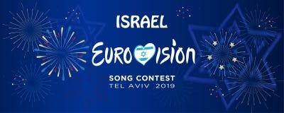 2019 abstrakte Eurovisions-Lied-Wettbewerb-internationale Musikfestivalfeuerwerke Israel vektor abbildung