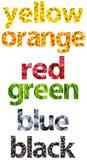 Abstrakte Farbe nennt die Wörter, die von den Früchten gemacht werden Lizenzfreie Stockfotos