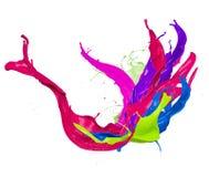 Abstrakte Farbe spritzt auf weißem Hintergrund Lizenzfreie Stockfotos