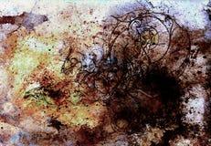 Abstrakte Farbehintergründe, malende Collage mit Stellen, Roststruktur und Verzierungsdrache Stockfoto