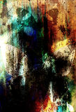 Abstrakte Farbehintergründe mit Schmetterling, malender Collage mit Stellen, Roststruktur und Verzierungen stock abbildung