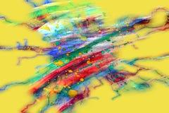 Abstrakte Farbenaquarellformen auf gelbem Hintergrund Stockfotografie