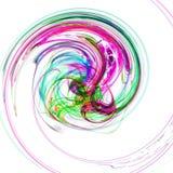 Abstrakte farbenreiche Spirale mit einer komplexen Struktur auf weißem Hintergrund Fractalkunstgraphik Stockbild