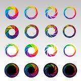 Abstrakte Farbformen, Spirale, Öffnung blendenverschlüsse stock abbildung