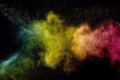 Abstrakte Farbpulverexplosion auf schwarzem Hintergrund Stockfotos