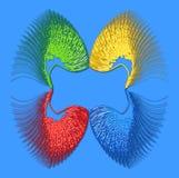 Abstrakte Farbzusammensetzung von openwork Elementen auf einem blauen backg Stockfotos