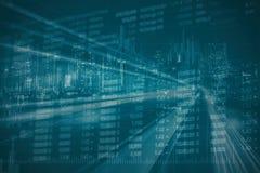Abstrakte Finanzaktienkurve und Stadtbild in der Doppelbelichtung reden Hintergrund an Lizenzfreie Stockfotografie